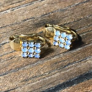 Square pale blue clip on earrings